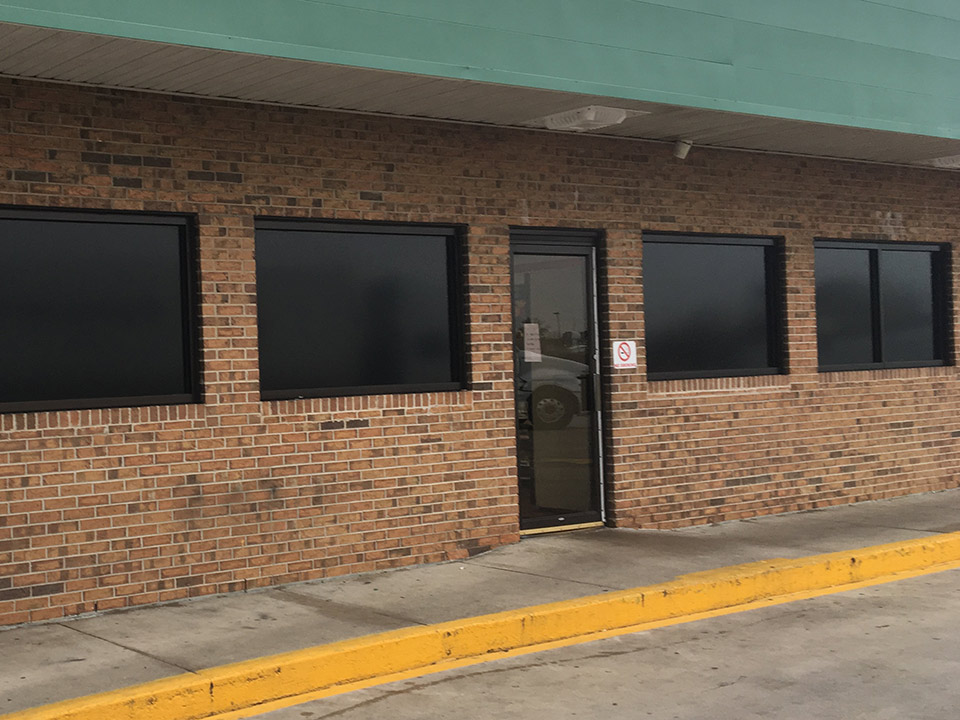 retail business with tinted windows
